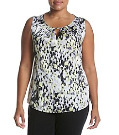 Kasper® Plus Size Printed Neptune Sleeveless Blouse