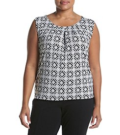 Kasper® Plus Size Geo Printed Sleeveless Top