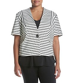 Nine West® Plus Size Stripe Ponte Jacket