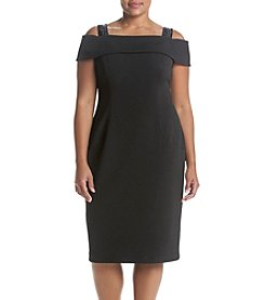 Adrianna Papell® Plus Size Black Crepe Off Shoulder Dress