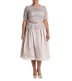Adrianna Papell® Plus Size Illusion Lace & Taffeta Midi Dress