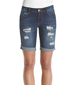 Crave Fame Raw Cuff Destruct Bermuda Shorts