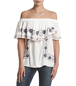 Sequin Hearts® White Embroidered Off Shoulder Popover Top