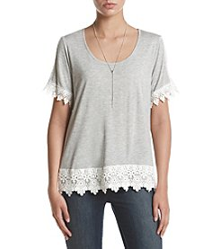 Sequin Hearts® Crochet Trim Tee