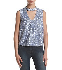 Sequin Hearts® Printed Choker Neckline Top