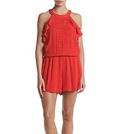 Sequin Hearts® Sleeveless Crocheted Romper