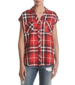 Sequin Hearts® Sleeveless Plaid Top