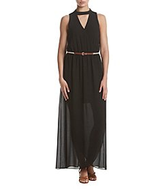A. Byer Solid Wrap Front Maxi Dress