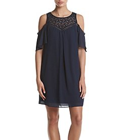 A. Byer Lace Cold Shoulder Trapeze Dress