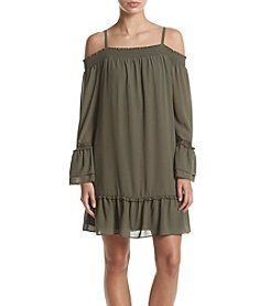 A. Byer Off Shoulder Peplum Sleeve Dress