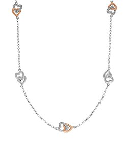 Sterling Silver and 14K Rose Gold Link Necklace with 0.12 Ct. T.W. Diamond Accent