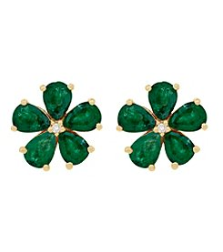 10K Yellow Gold Emerald Flower Earring with .008 Ct. T.W. Diamond Center