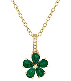 10K Yellow Gold Emerald Flower Pendant with 0.03CT Diamond Center