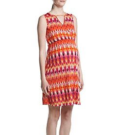 Three Seasons Maternity™ Keyhole Crossover Print Dress