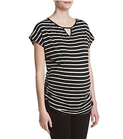 Three Seasons Maternity™ Side Ruche Stripe Top