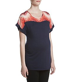 Three Seasons Maternity™ Sheer Yoke Dolman Sleeve Top