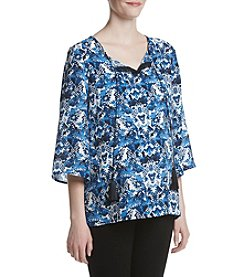 Three Seasons Maternity™ Elbow Sleeve Tassel Trim Printed Top