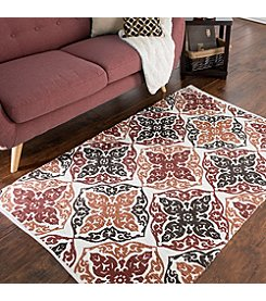 Lavish Home Chindi Damask Motif Accent Rug