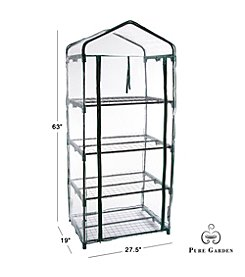 Pure Garden 4 Tier Mini Greenhouse with Cover