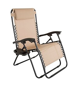 Pure Garden Oversized Zero Gravity Chair with Pillow and Cup Holder