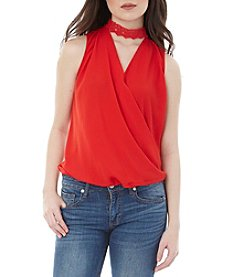 A. Byer Embellished Wrap Top