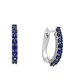 Effy® 14K White Gold 0.16 ct. t.w. Diamond And Natural Sapphire Earrings