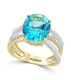 Effy® 14K Two Tone Gold 0.14 ct. t.w. Diamond And Topaz Ring
