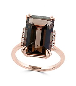 Effy® 14K Rose Gold Smoky Quartz and Diamond Accent Ring