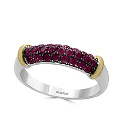 Effy® 14K White Gold And 18K Yellow Gold 0.70 ct. t.w. Genuine Ruby Ring