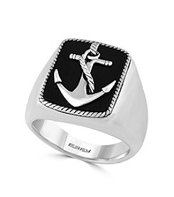 Effy® Men's 925 Collection Sterling Silver Onyx Anchor Ring