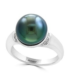 Effy® Cultured Black Tahitian Pearl with 0.07 ct. t.w Diamond Accent Ring