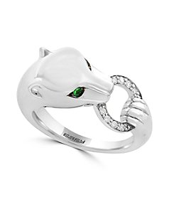 Effy® 925 Collection Sterling Silver Tsavorite and 0.08 ct. t.w. Diamond Accent Panther Ring