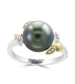 Effy® 14K Two Tone Gold Cultured Tahitian Pearl and 0.06 ct. t.w. Diamond Accent Ring