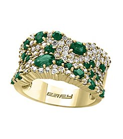 Effy® 14K Yellow Gold Natural Emerald and 1.19 ct. t.w. Diamond Accent Ring