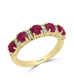 Effy® 14K Yellow Gold 0.18 ct. t.w. Diamond And Natural Ruby Ring