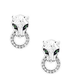 Effy® 925 Collection Sterling Silver 0.13 ct. t.w. Diamond And Tsavorite Panther Earrings