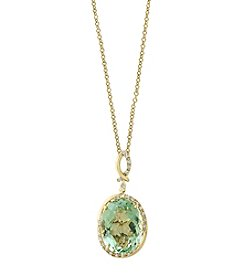 Effy® 14K Yellow Gold Diamond And Green Amethyst Pendant Necklace