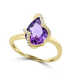 Effy® 14K Yellow Gold Amethyst and 0.08 ct. t.w. Diamond Accent Ring