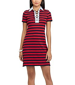 Chaps® Striped Lace-Up Polo Dress