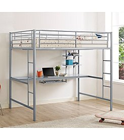 W. Designs Premium Metal Full Size Loft Bed with Wood Workstation