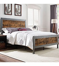 W. Design Queen Size Industrial Wood and Metal Bed