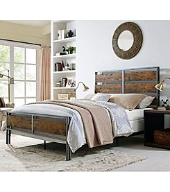 W. Design Queen Size Metal and Wood Plank Bed