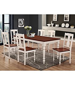 W. Design 7-Piece Two-Toned Solid Wood Dining Set