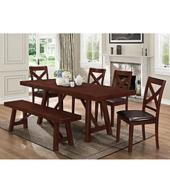 W. Designs 6-Piece Solid Wood Trestle Style Dining Set