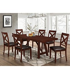 W. Designs 7-Piece Solid Wood Trestle Style Dining Set
