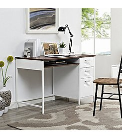 W. Design Metal Locker Style Desk with Wood To