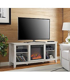 W. Design Wood Fireplace Media TV Stand Console
