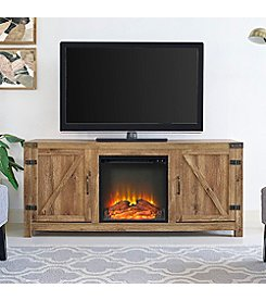 W. Design Barn Door Fireplace TV Stand