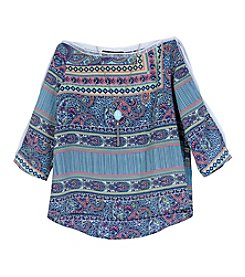 A. Byer Girls' 7-16 Quarter Sleeve Print Top