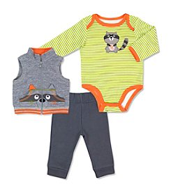 Cuddle Bear® Baby Boys' 3 Piece Raccoon Vest Set